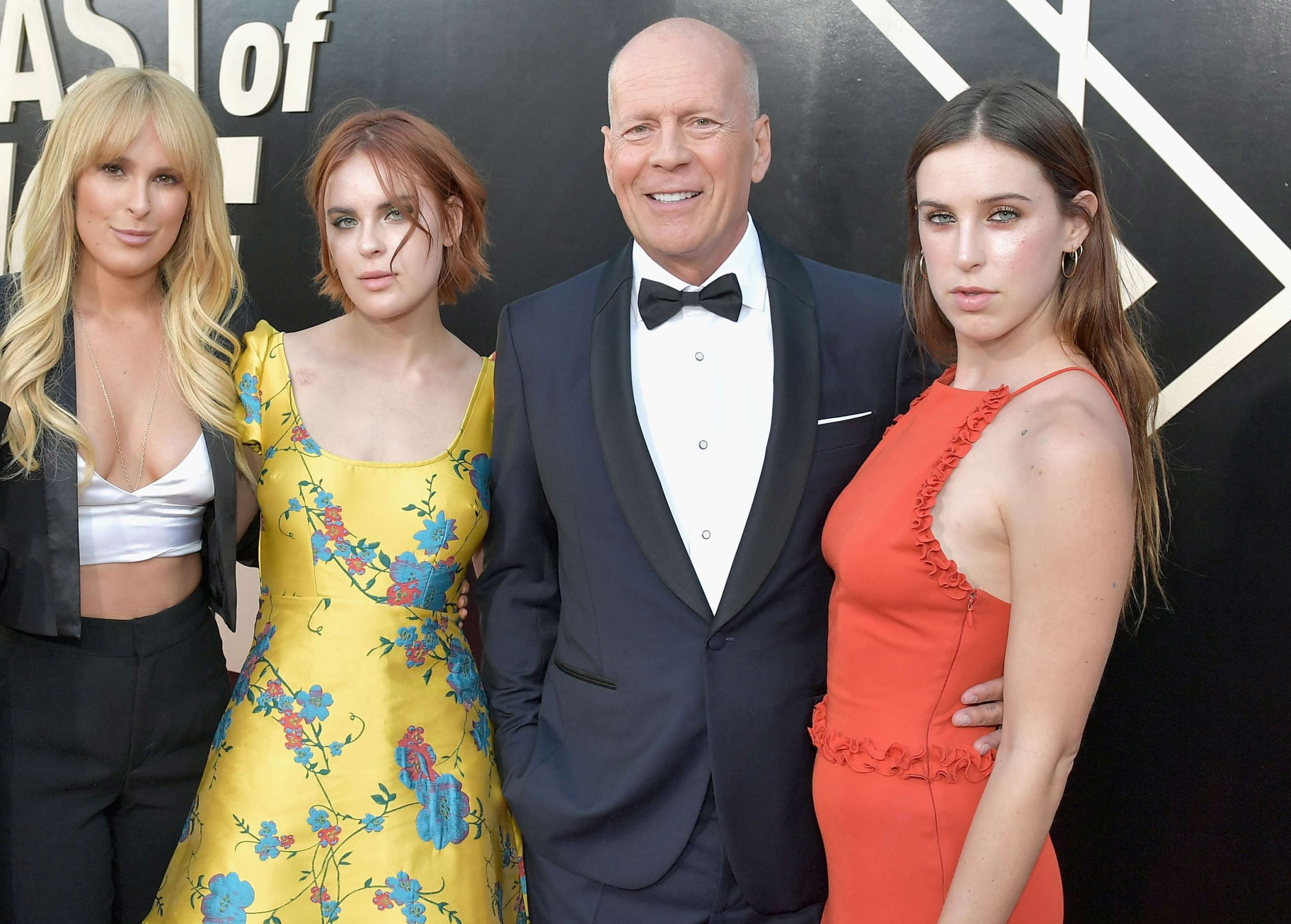 Slide 5 of 18: LOS ANGELES, CA - JULY 14:  (L-R) Emma Heming, Rumer Willis, Tallulah Willis, Bruce Willis and Scout Willis attend the Comedy Central Roast of Bruce Willis at Hollywood Palladium on July 14, 2018 in Los Angeles, California.  (Photo by Neilson Barnard/Getty Images For Comedy Central)