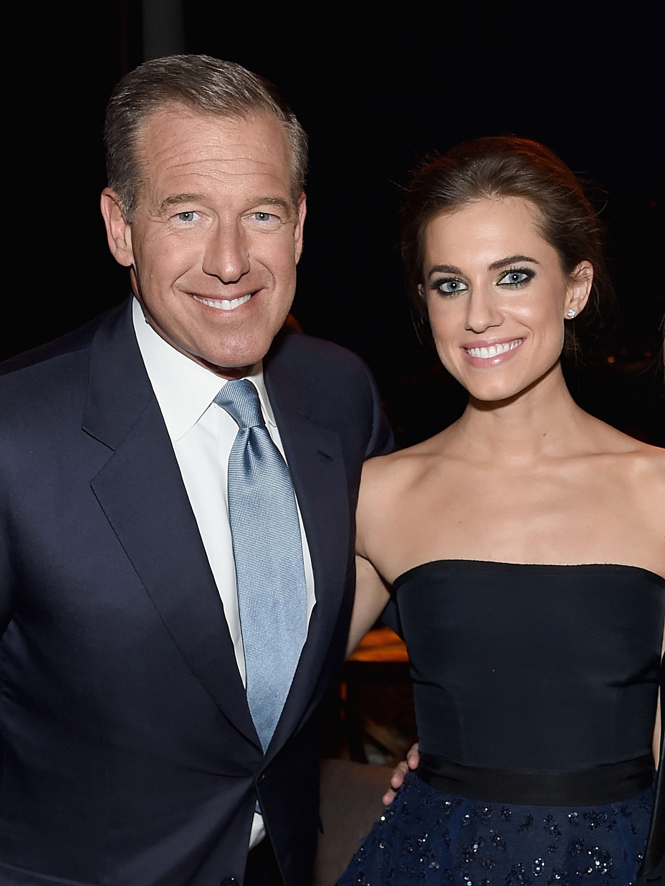 "Slide 17 of 18: NEW YORK, NY - JANUARY 05:  Brian Williams and  Allison Williams attend the ""Girls"" season four series premiere after party at The Museum of Natural History on January 5, 2015 in New York City.  (Photo by Jamie McCarthy/Getty Images)"