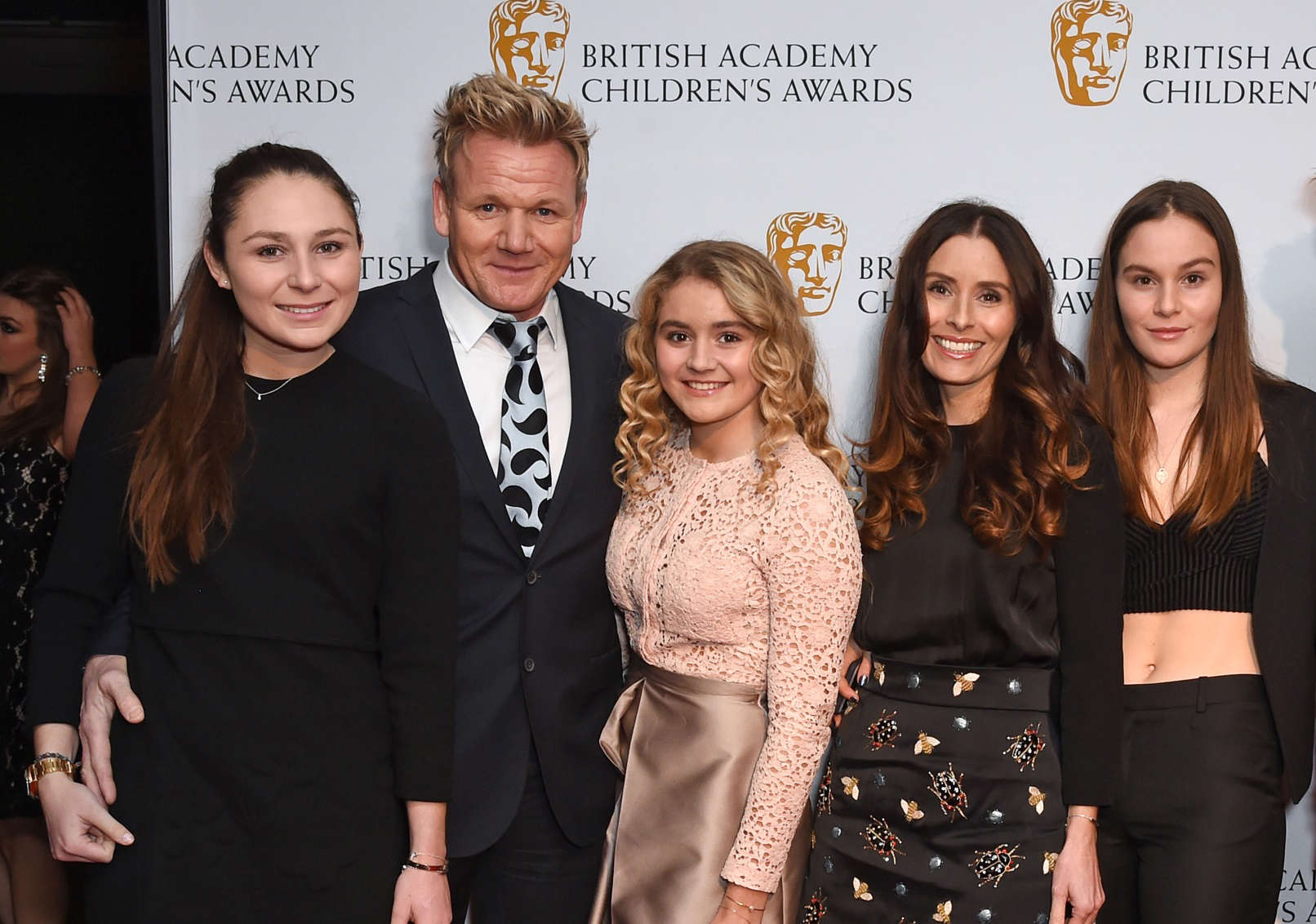 Slide 10 of 18: LONDON, ENGLAND - NOVEMBER 20:  (L to R) Megan Ramsay, Gordon Ramsay, Matilda Ramsay, Tana Ramsay, Holly Ramsay and Jack Ramsay at the BAFTA Children's Awards at The Roundhouse on November 20, 2016 in London, England.  (Photo by David M. Benett/Dave Benett/Getty Images)