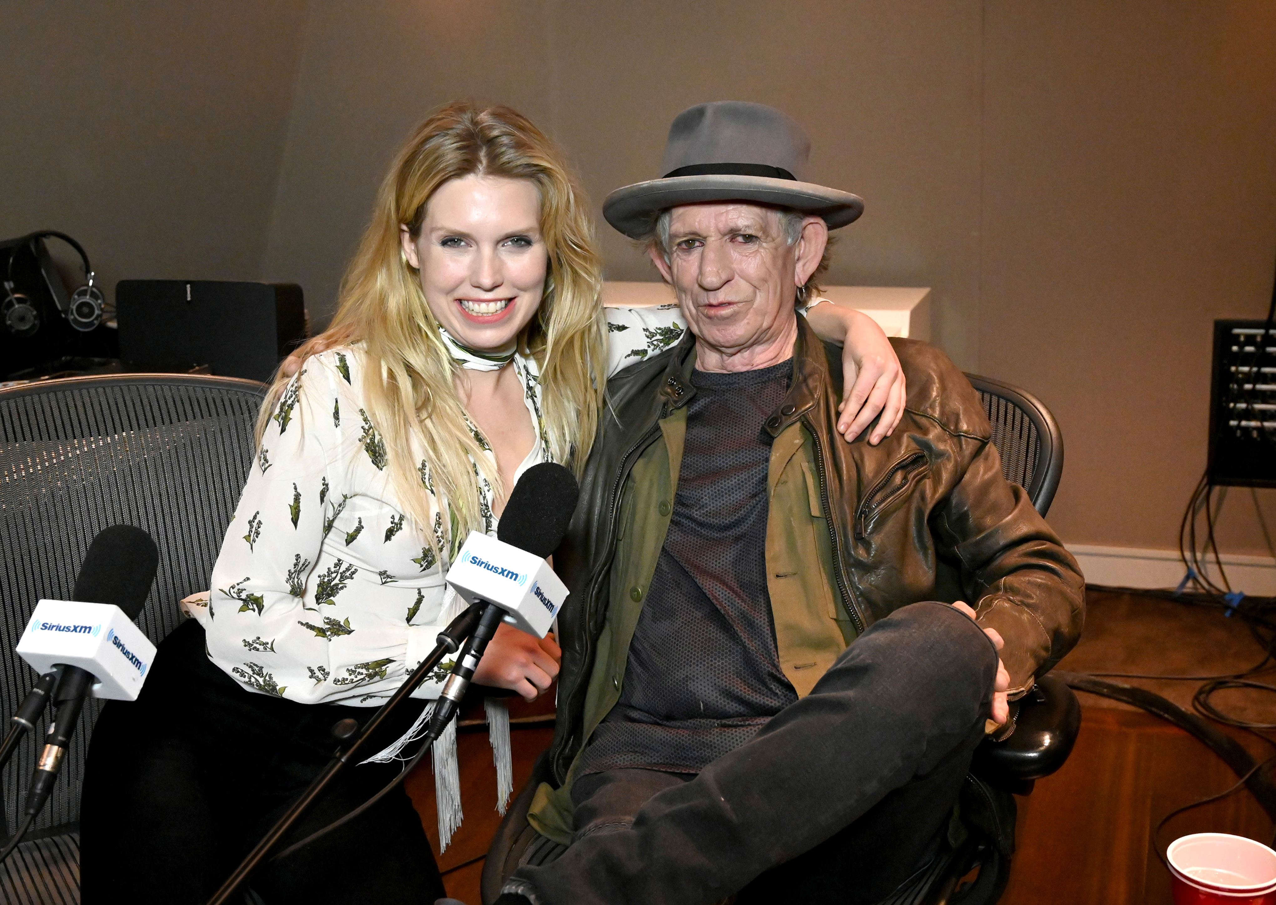 "Slide 13 of 18: NEW YORK, NY - DECEMBER 05:  (Exclusive Coverage) Keith Richards sits down with Theodora Richards exclusively on her SiriusXM show ""Off The Cuff"" at SiriusXM Studios on December 5, 2018 in New York City.  (Photo by Kevin Mazur/Getty Images for SiriusXM)"