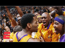 a group of people standing in front of a crowd: The Los Angeles Lakers overcame a 24-point deficit in the first half and beat the Sacramento Kings 100-99. (2:44) On the final possession, Kobe Bryant and Shaquille O'Neal both missed layups, but Vlade Divac whacked the ball out to the perimeter to Robert Horry who buried the game winner to propel L.A. to the Game 4 win in the 2002 NBA Western Conference finals.  ✔ Subscribe to NBA on ESPN on YouTube: http://bit.ly/2yxs3Og ✔ Subscribe to ESPN on YouTube: http://es.pn/SUBSCRIBEtoYOUTUBE ✔ Watch Latest Episodes on WatchESPN: http://es.pn/LatestEpisodes ✔ Watch ESPN on YouTube TV: http://es.pn/YouTubeTV  Get more ESPN Shows on YouTube: ► First Take: http://es.pn/FirstTakeonYouTube ► SportsCenter with SVP: http://es/pn/SVPonYouTube  ESPN on Social Media: ► Follow on Twitter: http://www.twitter.com/espn ► Like on Facebook: http://www.facebook.com/espn ► Follow on Instagram: http://www.instagram.com/espn  Visit NBA on ESPN on YouTube to get up-to-the-minute NBA coverage, scores, highlights and commentary.  More on ESPN.com: http://www.espn.com
