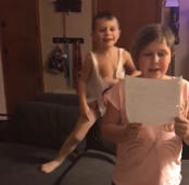 Trouble-making brother video-bombs sister's speech practice!