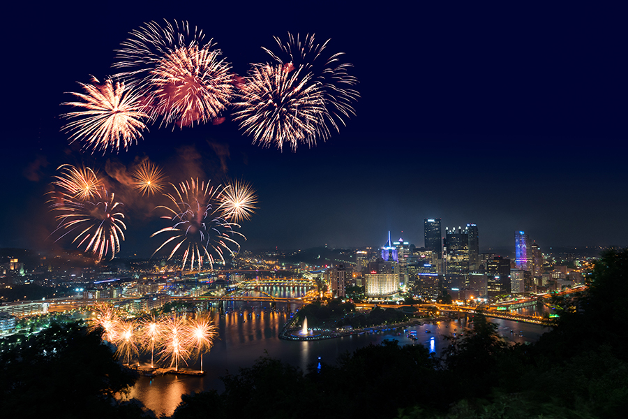 fireworks in the sky: Pittsburgh's Fourth of July festival features live music, a historical reenactment, and a fireworks display over the river.