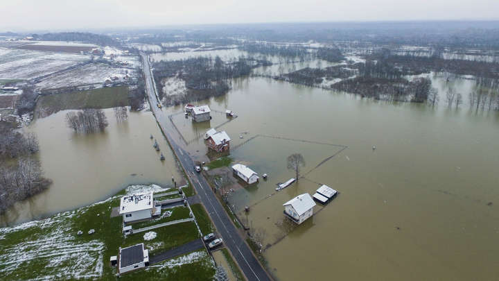 31874afd4e4 An aerial view of flooded houses and stores after the overflowing of Sava  River