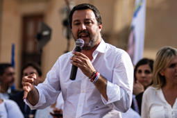 The Italian Interior Minister Matteo Salvini during the electoral visit in Monreale, province of Palermo, April 25, 2019 (Photo by Francesco Militello Mirto/NurPhoto via Getty Images)