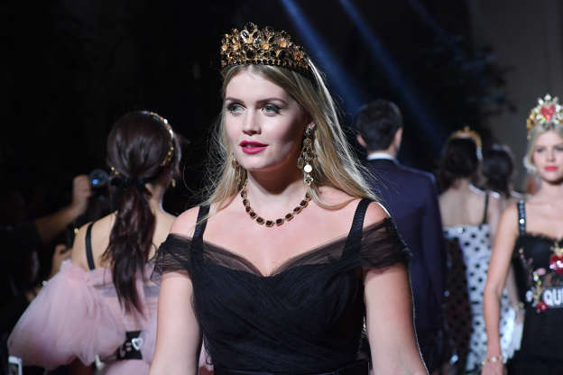 b3c1800d Kitty Spencer walks the runway at the Dolce & Gabbana secret show during  Milan Fashion Week