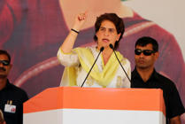 BATHINDA, INDIA - MAY 14:  Congress general secretary Priyanka Gandhi Vadra addressing a rally in support of Congress candidate Amrinder Singh Raja Warring  on May 14, 2019 in Bathinda, India.  (Photo by Sanjeev Kumar/Hindustan Times via Getty Images)
