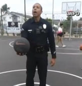 Supercop! LAPD officer casually sinks backwards half-court shot