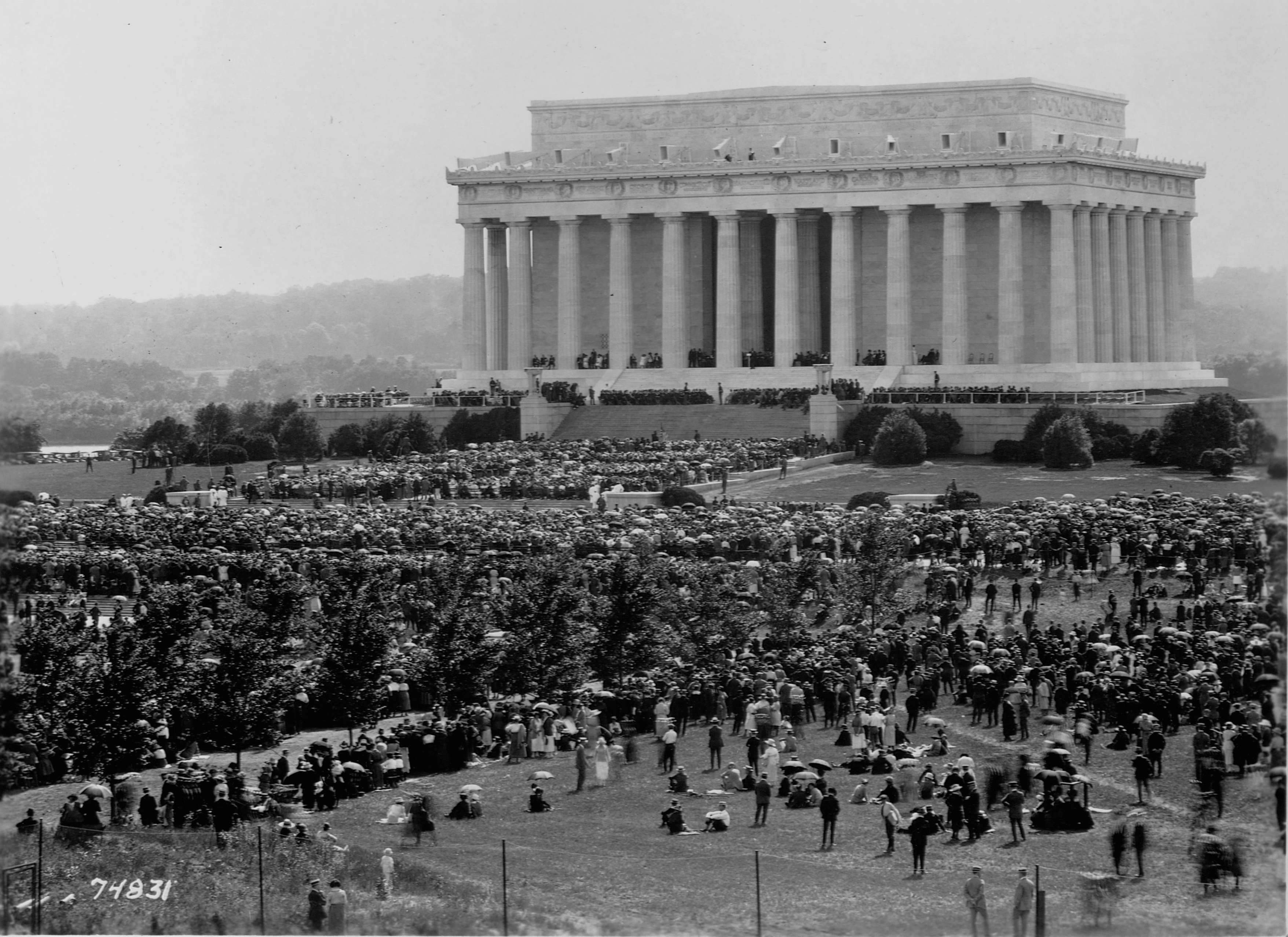 Slide 28 of 55: A crowd gathers for the dedication ceremony of the Lincoln Memorial on May 30, 1922 to the 16th President of the United States, Abraham Lincoln. (Photo by Library of Congress/Corbis/VCG via Getty Images)