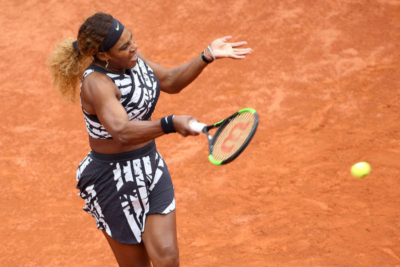 Serena Williams of USA in action during her first round victory on day 2 of the 2019 French Open