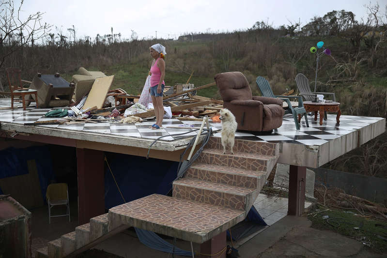 Irma Maldanado与她的鹦鹉和她的狗站在2017年在波多黎各科罗萨尔被飓风玛丽亚摧毁的家中。