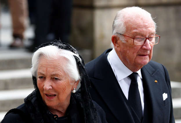 Belgium's King Albert II and Queen Paola leave after attending the funeral ceremony of Luxembourg's Grand Duke Jean at the Notre-Dame Cathedral in Luxembourg, May 4, 2019. REUTERS/Francois Lenoir