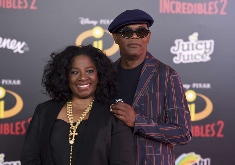 "Samuel L. Jackson, right, and LaTanya Richardson arrive at the world premiere of ""Incredibles 2"" at the El Capitan Theatre on Tuesday, June 5, 2018, in Los Angeles. (Photo by Jordan Strauss/Invision/AP)"