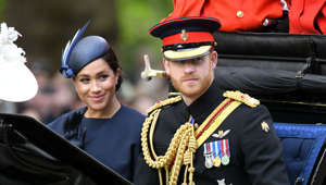 LONDON, ENGLAND - JUNE 08: Prince Harry, Duke of Sussex and Meghan, Duchess of Sussex attend Trooping The Colour, the Queen's annual birthday parade, on June 08, 2019 in London, England. (Photo by Karwai Tang/WireImage)