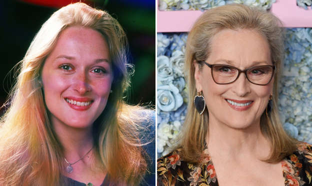 "64 枚のスライドの 1 枚目: Actress Meryl Streep photographed in August 1976. (Photo by Jack Mitchell/Getty Images) CAPTION: Actress Meryl Streep attends the premiere of HBO's ""Big Little Lies"" season two at Jazz at Lincoln Center on Wednesday, May 29, 2019, in New York. (Photo by Evan Agostini/Invision/AP)"