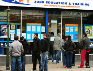 People outside a Jobs Education and Training Centre on Normanton Road, Derby.   (Photo by Rui Vieira/PA Images via Getty Images)