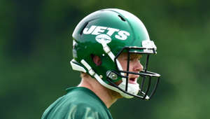 FLORHAM PARK, NJ - JUNE 05: Sam Darnold #14 of the New York Jets performs drills during day two of mandatory minicamp at the Atlantic Health Jets Training Center on June 5, 2019 in Florham Park, New Jersey. (Photo by Mark Brown/Getty Images)