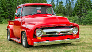 Saint John, New Brunswick, Canada - July 18, 2015: Classic 1956 American pickup truck at a local car show.