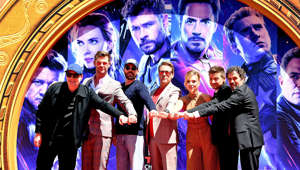 HOLLYWOOD, CALIFORNIA - APRIL 23: (L-R) President of Marvel Studios/Producer Kevin Feige, Chris Hemsworth, Chris Evans, Robert Downey Jr., Scarlett Johansson, Jeremy Renner, and Mark Ruffalo attend the Marvel Studios' 'Avengers: Endgame' cast place their hand prints in cement at TCL Chinese Theatre IMAX Forecourt at TCL Chinese Theatre IMAX on April 23, 2019 in Hollywood, California. (Photo by Steve Granitz/WireImage)