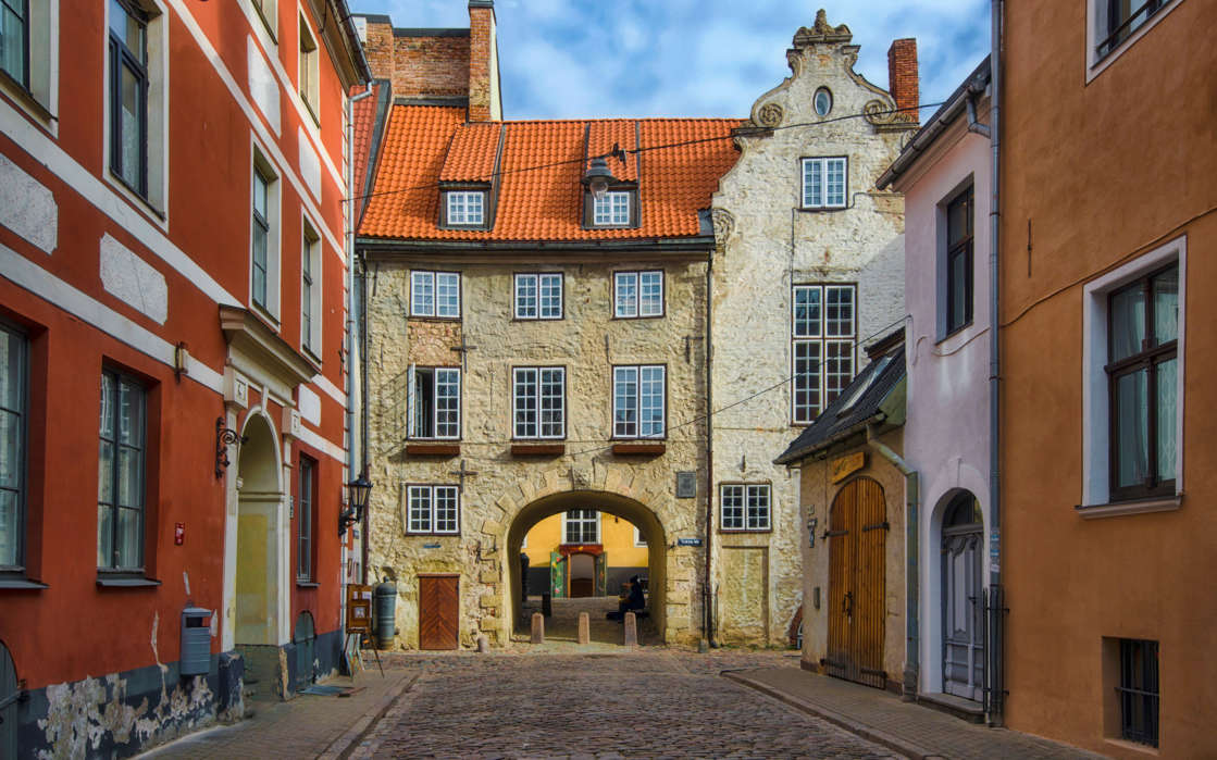 The Swedish Gate is situated in Riga, Latvia, and was erected 1698 as a part of the Riga Wall to provide access to barracks outside the city wall. Photo taken in April.
