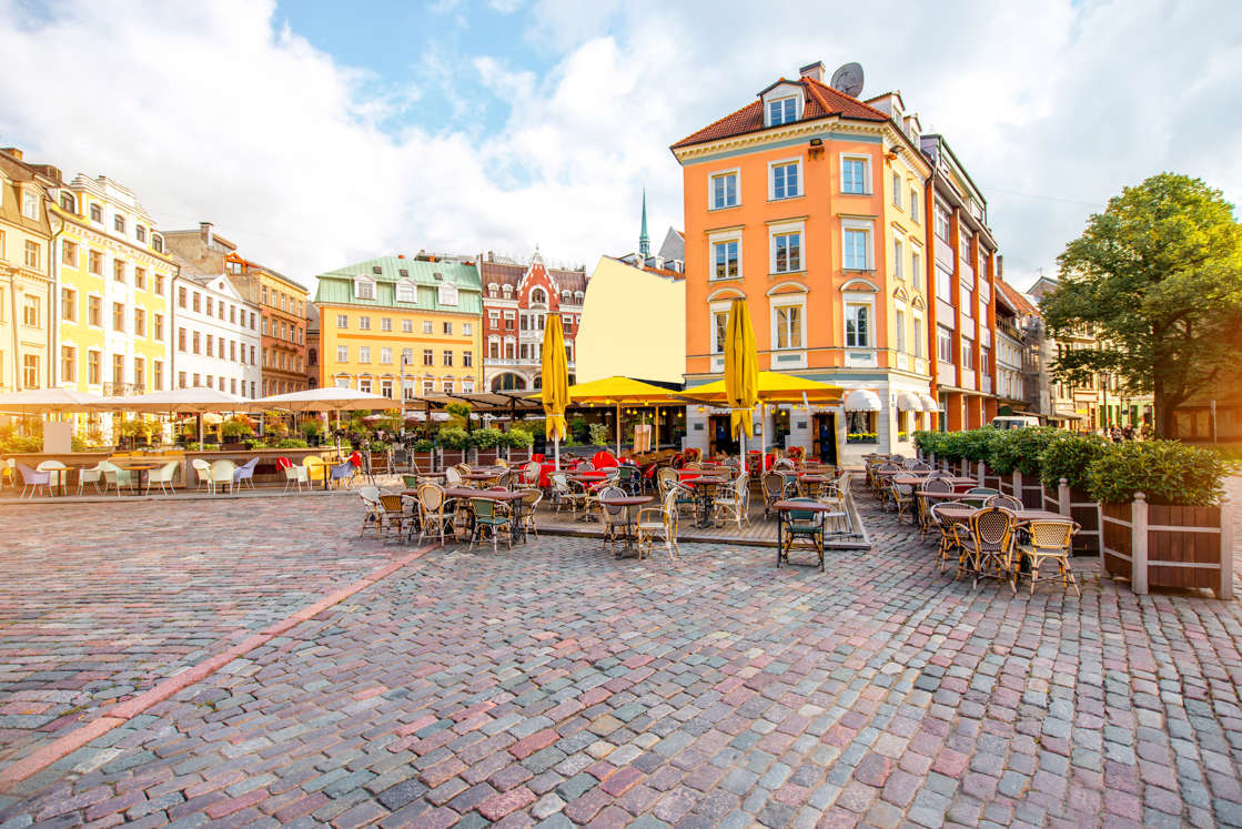 Dome square with cafes and restaurants in the old town center in Riga, Latvia