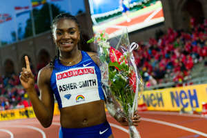 STOCKHOLM, SWEDEN - MAY 30: Dina Asher-Smith of Great Britain poses after winning the women's 200m during Stockholm - 2019 Diamond League at at Stockholms Olympiastadion on May 30, 2019 in Stockholm, Sweden. (Photo by Marco Mantovani/Getty Images)