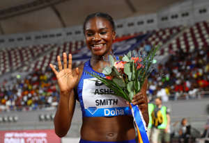 DOHA, QATAR - MAY 03:  Dina Asher-Smith of Great Britain celebrates winning the Women's 200 metres during the IAAF Diamond League event at the Khalifa International Stadium on May 03, 2019 in Doha, Qatar. (Photo by Francois Nel/Getty Images)