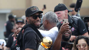 Toronto Raptors forward Kawhi Leonard (2) as the Toronto Raptors hold their victory parade after beating the Golden State Warriors in the NBA Finals in Toronto. June 17, 2019.