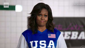 Michelle Obama leads Team USA to dodgeball victory