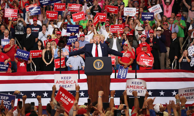 Slide 1 of 23: ORLANDO, FLORIDA - JUNE 18: U.S. President Donald Trump speaks during his rally where he announced his candidacy for a second presidential term at the Amway Center on June 18, 2019 in Orlando, Florida.  President Trump is set to run against a wide open Democratic field of candidates. (Photo by Joe Raedle/Getty Images)