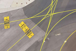 FILE PHOTO - Airfield - marking on taxiway is heading to runway