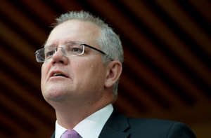 CANBERRA, AUSTRALIA - JULY 01:  The Prime Minister of Australia Scott Morrison (R) speaks at a reception in the Members Hall after David Hurley AC DSC was sworn in as the Governor General at Parliament House on July 01, 2019 in Canberra, Australia. David Hurley, former New South Wales governor and former defence force chief is replacing outgoing Governor General Peter Cosgrove. (Photo by Tracey Nearmy-Pool/Getty Images)