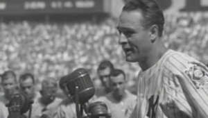 "a man standing in front of a crowd: On July 4, 1939, Lou Gehrig delivered his famed ""Luckiest Man"" speech in front of a sold out crowd in Yankee Stadium  Check out http://m.mlb.com/video for our full archive of videos, and subscribe on YouTube for the best, exclusive MLB content: http://youtube.com/MLB      About MLB.com: Commissioner Allan H. (Bud) Selig announced on January 19, 2000, that the 30 Major League club owners voted unanimously to centralize all of Baseball's internet operations into an independent technology company. Major League Baseball Advanced Media (MLBAM) was formed and charged with developing, building and managing the most comprehensive baseball experience available on the internet. In August 2002, MLB.com streamed the first-ever live, full length MLB game when the Texas Rangers and New York Yankees faced off at Yankee Stadium. Since that time, millions of baseball fans around the world have subscribed to MLB.TV, the live video streaming product that airs every game in HD to nearly 400 different devices. MLB.com also provides an array of mobile apps for fans to choose from, including At Bat, the highest-grossing iOS sports app of all-time. MLB.com features a stable of club beat reporters and award-winning national columnists, the largest contingent of baseball reporters under one roof, who deliver over 100 original articles every day. MLB.com also offers extensive historical information and footage, online ticket sales, official baseball merchandise, authenticated memorabilia and collectibles and fantasy games.   Major League Baseball consists of 30 teams split between the American and National Leagues. The American League, originally founded in 1901, consists of the following teams: Baltimore Orioles; Boston Red Sox; Chicago White Sox; Cleveland Indians; Detroit Tigers; Houston Astros; Kansas City Royals; Los Angeles Angels of Anaheim; Minnesota Twins; New York Yankees; Oakland Athletics; Seattle Mariners; Tampa Bay Rays; Texas Rangers; and Toronto Blue Jays. The National League, originally founded in 1876, consists of the following teams: Arizona Diamondbacks; Atlanta Braves; Chicago Cubs; Cincinnati Reds; Colorado Rockies; Los Angeles Dodgers; Miami Marlins; Milwaukee Brewers; New York Mets; Philadelphia Phillies; Pittsburgh Pirates; San Diego Padres; San Francisco Giants; St. Louis Cardinals; and Washington Nationals.   Visit MLB.com: http://mlb.mlb.com Subscribe to MLB.TV: mlb.tv Download MLB.com At Bat: http://mlb.mlb.com/mobile/atbat Get tickets: http://mlb.mlb.com/tickets Official MLB Merchandise: http://mlb.mlb.com/shop   Join the conversation! Twitter: http://twitter.com/mlb Facebook: http://facebook.com/mlb Instagram: http://instagram.com/mlb Google+: https://plus.google.com/+MLB Tumblr: http://drawntomlb.com/ Pinterest: http://pinterest.com/MLBAM"