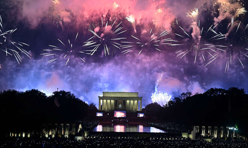 Slide 1 of 45: Fireworks explode over the Lincoln Memorial during the Fourth of July celebrations in Washington, DC, July 4, 2019. (Photo by ANDREW CABALLERO-REYNOLDS / AFP)        (Photo credit should read ANDREW CABALLERO-REYNOLDS/AFP/Getty Images)