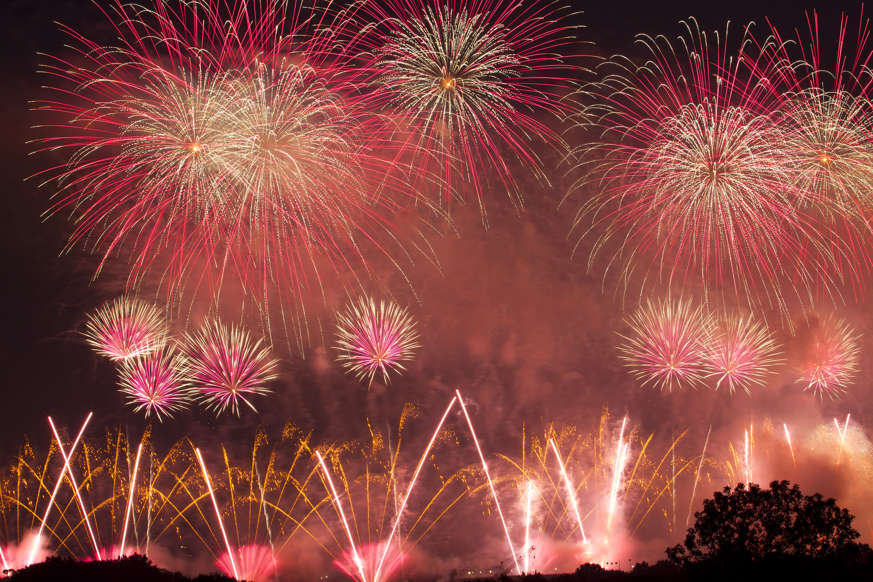 "Slide 2 of 45: Fireworks explode over the National Mall during the Independence Day celebrations in Washington, Thursday, July 4, 2019, after President Donald Trump's ""Salute to America'""remarks at the Lincoln Memorial. (AP Photo/Jose Luis Magana)"
