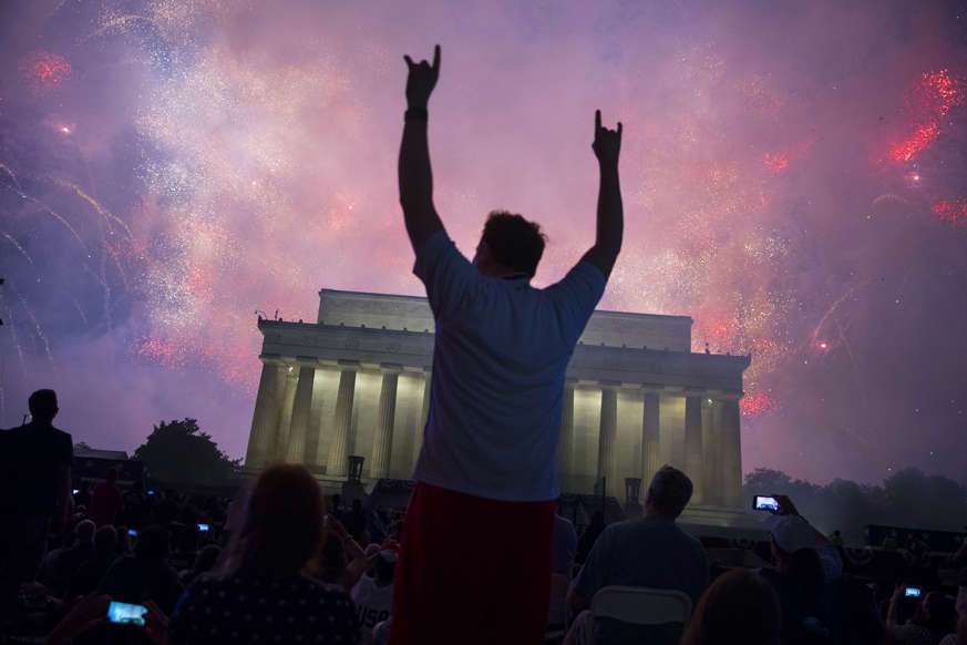 "Slide 4 of 45: WASHINGTON, DC - JULY 04: A fireworks display follows the ""Salute to America"" ceremony in front of the Lincoln Memorial, on July 4, 2019 in Washington, DC. The presentation featured armored vehicles on display, a flyover by Air Force One, and several flyovers by other military aircraft. (Photo by Sarah Silbiger/Getty Images)"