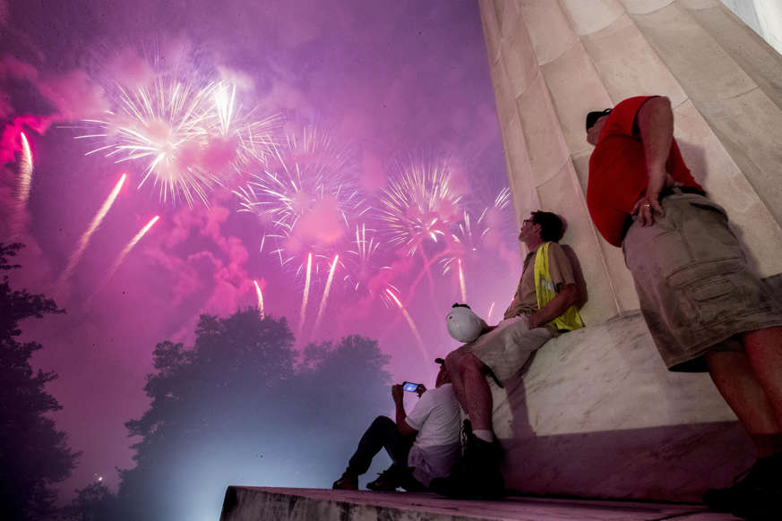 Slide 3 of 45: Fireworks seen from the Lincoln Memorial explode over the Potomac River for Independence Day, Thursday, July 4, 2019, in Washington. (AP Photo/Andrew Harnik)
