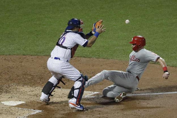 quality design f05db d7f0f Philadelphia Phillies  Rhys Hoskins, right, slides past New York Mets  catcher Wilson Ramos