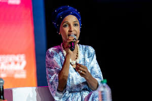 NEW ORLEANS, LOUISIANA - JULY 06: U.S Representative Ilhan Abdullahi Omar speaks at the 25th Essence Music Festival at Ernest N. Morial Convention Center on July 06, 2019 in New Orleans, Louisiana. (Photo by Josh Brasted/FilmMagic)