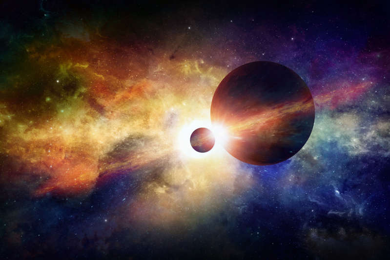 Sci-fi space background - two planets in space, glowing mysterious nebula in universe. Elements of this image furnished by NASA nasa.gov