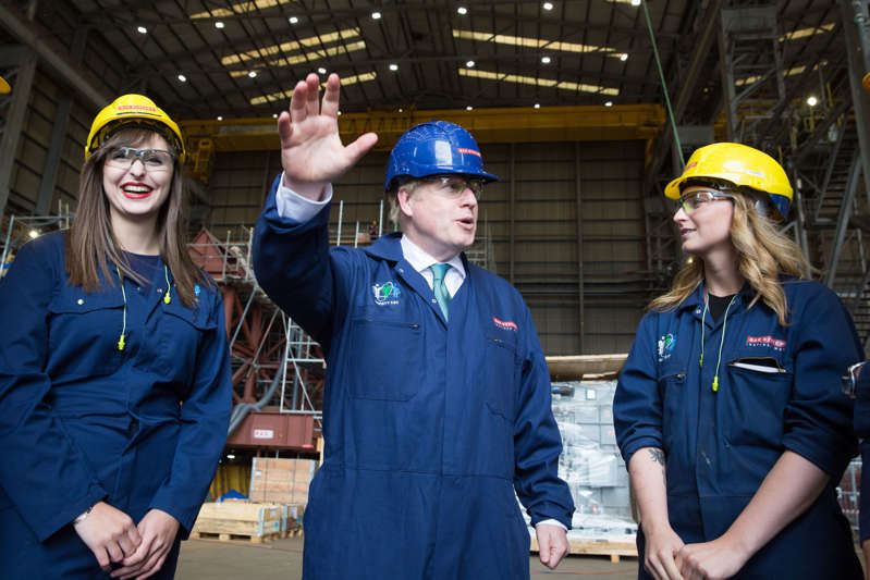 Conservative MP and leadership contender Boris Johnson visits BAE Systems Naval facility in Glasgow, Scotland on July 5, 2109. (Photo by Robert Perry / POOL / AFP)        (Photo credit should read ROBERT PERRY/AFP/Getty Images)
