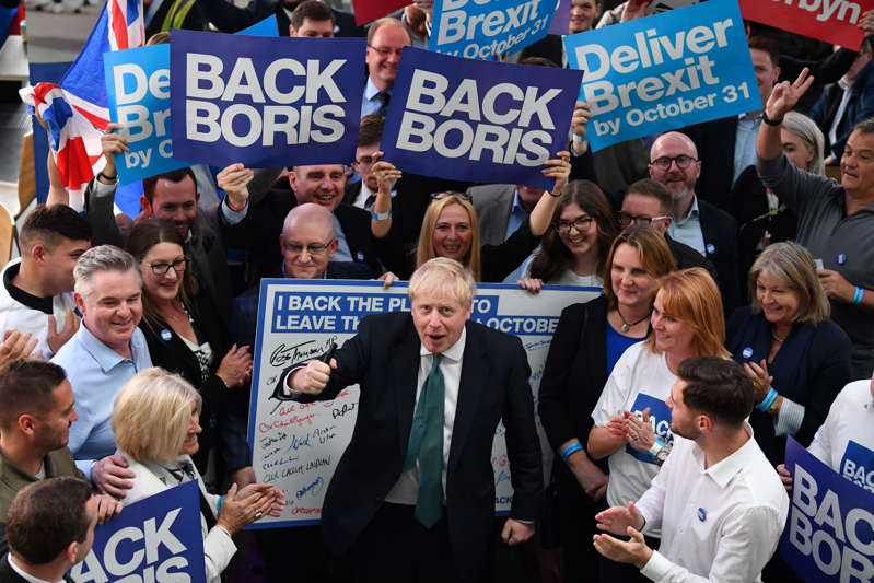 PERTH, SCOTLAND - JULY 05: Conservative leadership candidate Boris Johnson greets supporters ahead of the Scottish Hustings on July 5, 2019 in Perth, Scotland. Boris Johnson and Jeremy Hunt are the final two MPs left in the contest to replace Theresa May as leader of the Conservative Party. The winner will be announced on July 23rd 2019 and will also take up the post of Prime Minister of the UK and Northern Ireland.  (Photo by Jeff J Mitchell/Getty Images)
