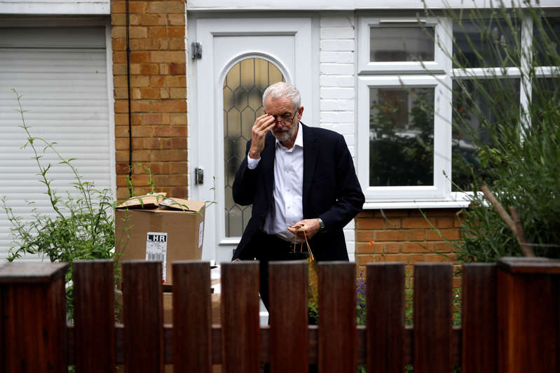 Britain's Labour Party leader Jeremy Corbyn leaves his home in London, Britain June 19, 2019. REUTERS/Peter Nicholls