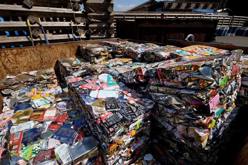This picture taken on March 14, 2019 shows stacks of compacted aluminium cans at a waste centre in the town of Kamikatsu, Tokushima prefecture. - Plastic, paper, metal? In Japan's Kamikatsu, sorting rubbish isn't that simple. Residents face a mind-boggling 45 separate categories for their garbage as the town aims to be 'zero-waste' by 2020. (Photo by Kazuhiro NOGI / AFP) / TO GO WITH AFP STORY JAPAN-ENVIRONMENT-WASTE-SYNTHETICS,FEATURE BY NATSUKO FUKUE        (Photo credit should read KAZUHIRO NOGI/AFP/Getty Images)