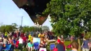 Rogue hot-air balloon crash caught on video