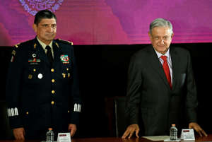 "Mexican President Andres Manuel Lopez Obrador (R) and National Defence Secretary Luis Cresencio Sandoval (L) attend the opening of the workshop ""Constitutional Standards for the Performance of the National Guard"" in Mexico City on June 17, 2019."