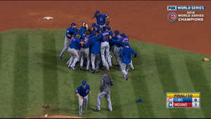a group of people jumping in the air: 11/2/16: Mike Montgomery gets the final out to seal the Cubs' 10-inning Game 7 win, giving the team their first World Series title since 1908  Check out http://m.mlb.com/video for our full archive of videos, and subscribe on YouTube for the best, exclusive MLB content: http://youtube.com/MLB      About MLB.com: Commissioner Allan H. (Bud) Selig announced on January 19, 2000, that the 30 Major League club owners voted unanimously to centralize all of Baseball's internet operations into an independent technology company. Major League Baseball Advanced Media (MLBAM) was formed and charged with developing, building and managing the most comprehensive baseball experience available on the internet. In August 2002, MLB.com streamed the first-ever live, full length MLB game when the Texas Rangers and New York Yankees faced off at Yankee Stadium. Since that time, millions of baseball fans around the world have subscribed to MLB.TV, the live video streaming product that airs every game in HD to nearly 400 different devices. MLB.com also provides an array of mobile apps for fans to choose from, including At Bat, the highest-grossing iOS sports app of all-time. MLB.com features a stable of club beat reporters and award-winning national columnists, the largest contingent of baseball reporters under one roof, who deliver over 100 original articles every day. MLB.com also offers extensive historical information and footage, online ticket sales, official baseball merchandise, authenticated memorabilia and collectibles and fantasy games.   Major League Baseball consists of 30 teams split between the American and National Leagues. The American League, originally founded in 1901, consists of the following teams: Baltimore Orioles; Boston Red Sox; Chicago White Sox; Cleveland Indians; Detroit Tigers; Houston Astros; Kansas City Royals; Los Angeles Angels of Anaheim; Minnesota Twins; New York Yankees; Oakland Athletics; Seattle Mariners; Tampa Bay Rays; Texas Rangers; and Toronto Blue Jays. The National League, originally founded in 1876, consists of the following teams: Arizona Diamondbacks; Atlanta Braves; Chicago Cubs; Cincinnati Reds; Colorado Rockies; Los Angeles Dodgers; Miami Marlins; Milwaukee Brewers; New York Mets; Philadelphia Phillies; Pittsburgh Pirates; San Diego Padres; San Francisco Giants; St. Louis Cardinals; and Washington Nationals.   Visit MLB.com: http://mlb.mlb.com Subscribe to MLB.TV: mlb.tv Download MLB.com At Bat: http://mlb.mlb.com/mobile/atbat Download MLB.com Ballpark: http://mlb.mlb.com/mobile/ballpark Get tickets: http://mlb.mlb.com/tickets Official MLB Merchandise: http://mlb.mlb.com/shop   Join the conversation! Twitter: http://twitter.com/mlb Facebook: http://facebook.com/mlb Instagram: http://instagram.com/mlb Google+: https://plus.google.com/+MLB Tumblr: http://drawntomlb.com/ Pinterest: http://pinterest.com/MLBAM