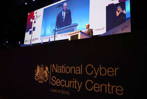 Jeremy Fleming, Director of GCHQ, gives a keynote speech at the National Cyber Security Centre (NCSC) annual conference CYBERUK, held at the Scottish Exhibition Centre, Glasgow. (Photo by Andrew Milligan/PA Images via Getty Images)