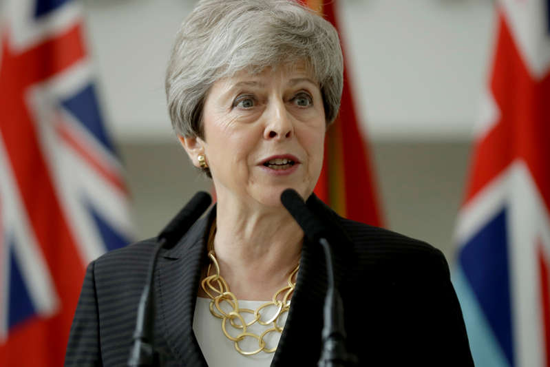 Britain's Prime Minister Theresa May delivers a speech at headquarters of Joint Forces Command in Northwood, London, Britain July 8, 2019. Matt Dunham/Pool via REUTERS