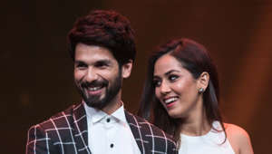 MUMBAI, INDIA - JANUARY 24: (Editors Note: This in an exclusive image of Hindustan Times) Actor Shahid Kapoor and his wife Mira Rajput Kapoor with their most stylish couple awards trophy during Hindustan Times India's Most Stylish Awards 2018 at Yash Raj Studios, Andheri on January 24, 2018 in Mumbai, India. (Photo by Satish Bate/Hindustan Times via Getty Images)